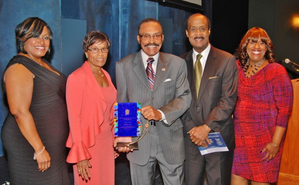 From left to right: Dr. DeRionne Pollard (Master of Ceremonies, President of Montgomery College), Dorothy Graham, Solomon Graham (honoree), Hon. Ike Leggett (Montgomery County Executive) and C. Marie Henderson (Director, The Community Foundation for Montgomery County).